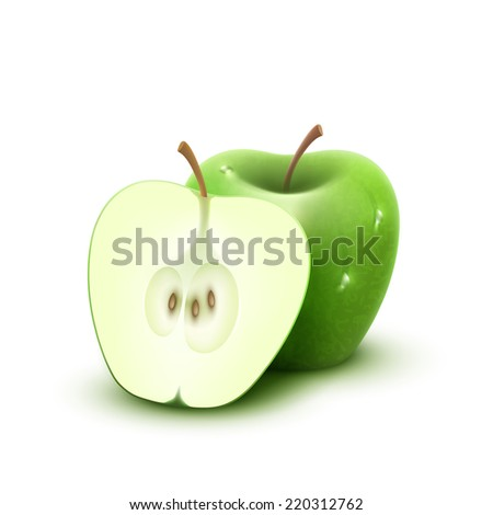 Vector illustration 3d Green apple with water drops, isolated on white background.