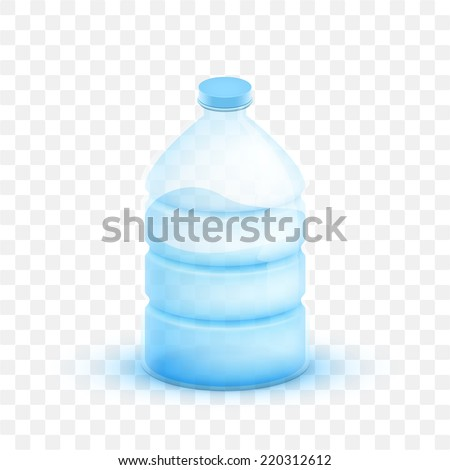 Vector illustration 3d plastic bottle with pure natural drinking water. - stock vector