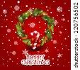 Vector illustration - decorated christmas wreath. Christmas  card - stock vector