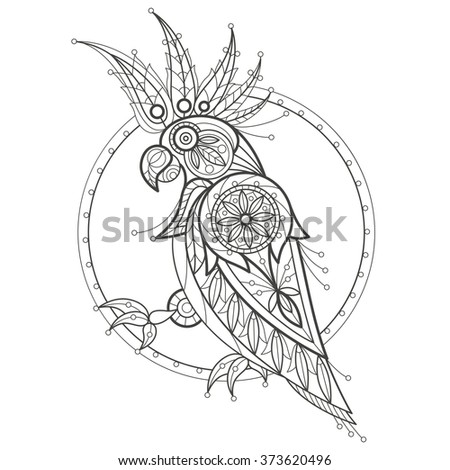 Vector illustration decorative cockatoo on white background. Fashion trend of adult coloration. Bird parrot vector with elements oriental motif Turkish cucumber. Black and white. Modern vector design. - stock vector