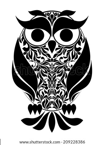 Vector illustration - Decorative Owl - stock vector