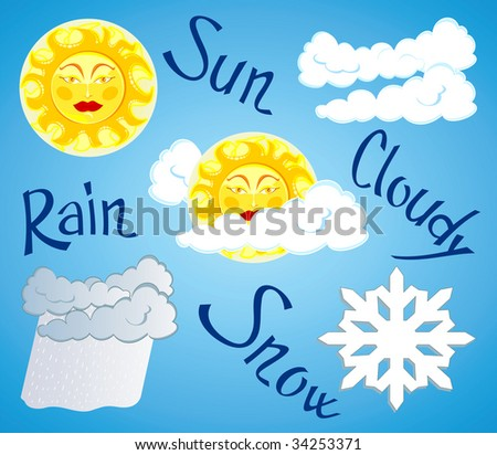 Vector illustration depicting different weather: clear skies, cloudy, rain, snow - stock vector