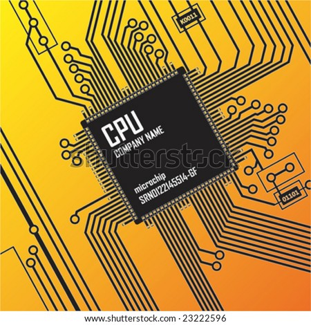 Vector illustration depicting printed processor circuit board. - stock vector
