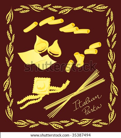 "Vector illustration depicting some typical ingredients of Italian cuisine, with a graphical layout decorative frame and with the slogan ""Italian Pasta"" - stock vector"