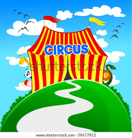 Vector illustration depicting the tent of a circus, while the tamer animals and peering from behind - stock vector