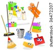 Vector illustration depicting various tools and accessories for cleaning, with happy smiling faces - stock vector