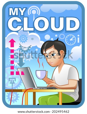 """Vector illustration: design for """"Cloud Service Label"""". Funny hipster in cafe - stock vector"""