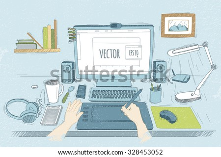 Vector illustration desktop designer. Drawn in sketch style. Organization of modern business workspace in the office. - stock vector