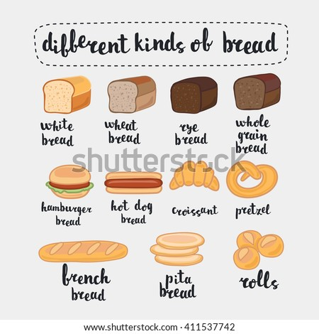 Vector illustration different kinds of bread  isolated on white. Set of cartoon food: bread - rye bread, wheat bread, whole grain bread,  french baguette, croissant  and lettering name in English  - stock vector