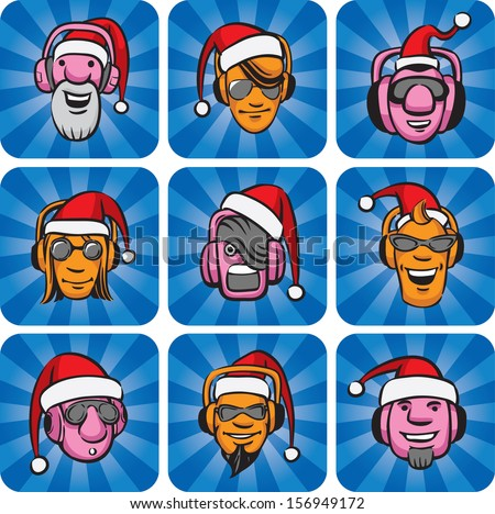 Vector illustration dj faces in santa hats. Easy-edit layered vector EPS10 file scalable to any size without quality loss. High resolution raster JPG file is included. - stock vector