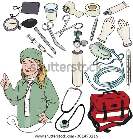Vector illustration, doctor gear, cartoon concept, white background.