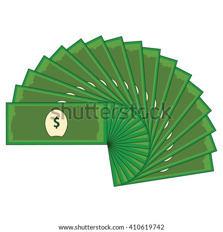 Vector illustration dollar banknotes isolated on a white background. Stack of paper money in flat design. Money icon - stock vector