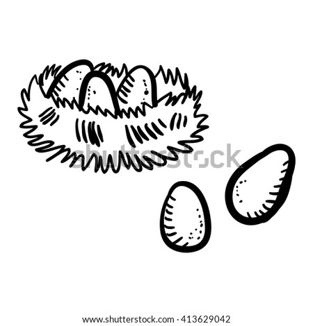 Vector illustration doodle bird's nest with eggs on white background. Handy drawn hen's nest with big eggs. Cartoon nest.