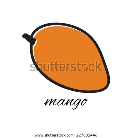 Vector illustration. Doodle mango. Hand-drawn object isolated on white background. Easy paste to any background - stock vector
