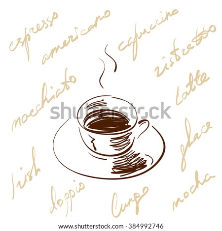 Vector illustration doodle style hand drawn coffee cup with hot black coffee and saucer, decorated with handwritten coffee types against white background. Concept is impression of aroma and taste. - stock vector