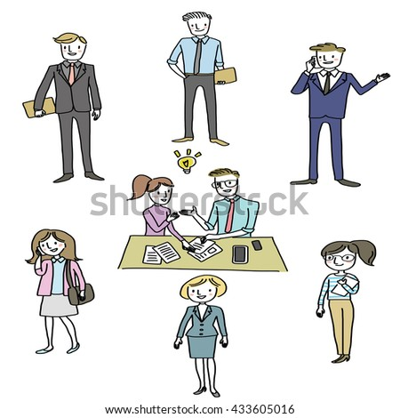 vector illustration - doodle style of business people set such as professional businesswoman, businessman,  smart executive,  entrepreneur, freelancer, people meeting and brainstorming with Idea bulb. - stock vector