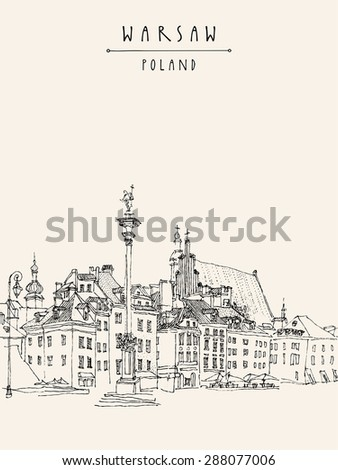 Vector illustration drawing of Castle Square in old center of Warsaw, Poland. Historical buildings line art. Travel sketch, hand lettering. Monochrome black and white vintage postcard template - stock vector