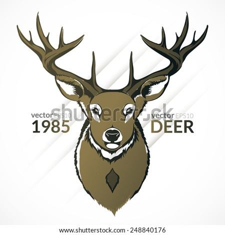 Vector illustration drawn by reindeer. - stock vector