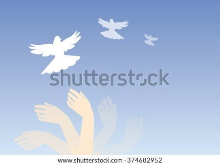 Vector illustration dream with hands and doves. Soothing magic image. Dreamy illustration. Dreamy background. Hands in motion. Blue background. Emotion mind. Peace background. Hands in flight