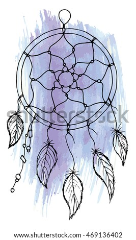 Vector illustration. Dreamcatcher in boho style on watercolor texture.