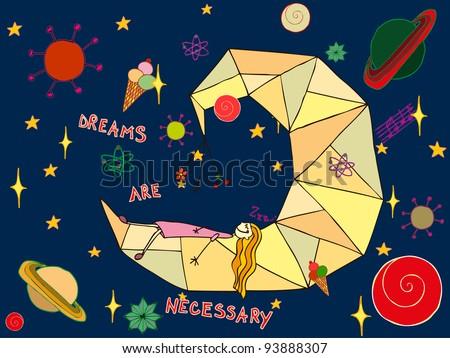 Vector illustration, dreamy little girl, card concept. - stock vector