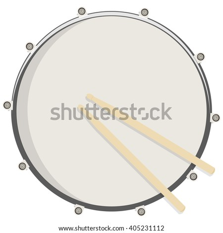 Vector illustration drum and sticks top view. Drum, snare icon, symbol, logo - stock vector