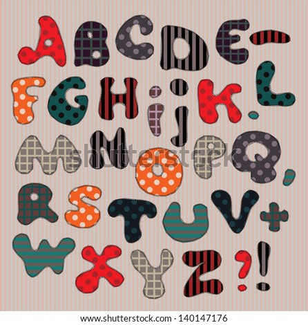 Vector illustration. Each letter embroidered in a pattern / Colorful letters