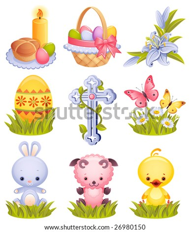 Vector illustration - Easter icon set - stock vector