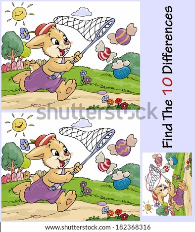 Vector illustration, educative game, rabbit chasing eggs, cartoon concept.