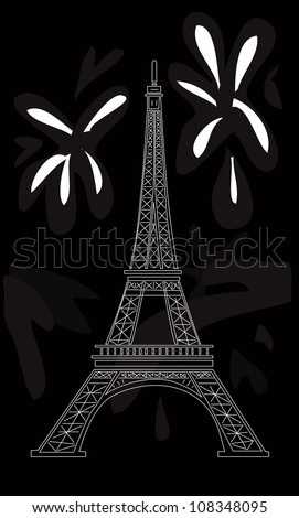 vector illustration: Eiffel tower on black
