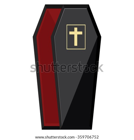 Vector illustration elegant black coffin with cross. Opened coffin with red cloth inside - stock vector