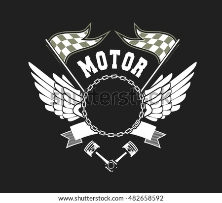 vector illustration emblem Racing, a motorcycle on a black background