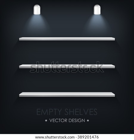 Vector illustration. Empty silver shelves on a black background and light lamp. - stock vector