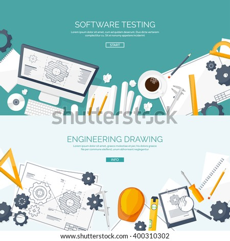Vector illustration. Engineering and architecture. Computer, software. Drawing, construction.  Architectural project. Design, sketching. Workspace with tools. Planning, building.  - stock vector