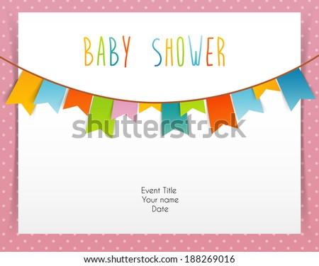 Vector illustration (eps 10) of Baby shower card - stock vector