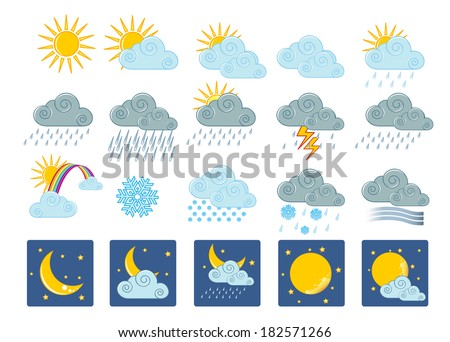 Vector illustration (eps 10) of 20 weather icons - stock vector
