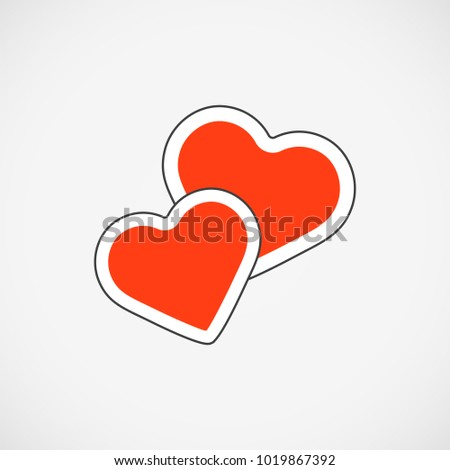 Vector illustration. EPS 10. 2 red hearts icon isolated. Red hearts flat line style. Red hearts symbol