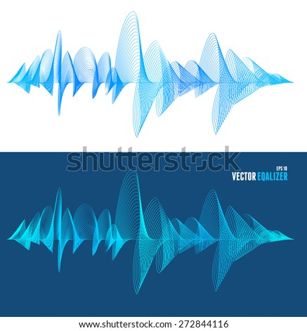 Vector illustration equalizer, colorful musical bar set. isolated on white and blue background. Wave concept - stock vector
