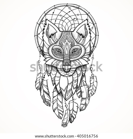 Totem stock images royalty free images vectors for Wolf head dreamcatcher tattoo