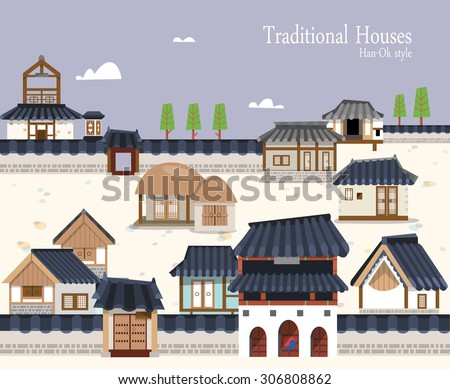 Vector illustration featuring the old town surrounded by ramparts with Korean traditional buildings. A variety of houses ,stone pagoda, thatched house and tiled roof. Suitable for traditional holiday - stock vector