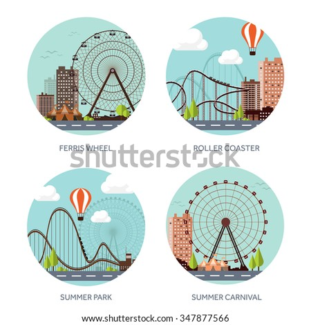 Vector illustration. Ferris wheel. Summer carnival. Funfair background. Circus park. Roller coaster. - stock vector