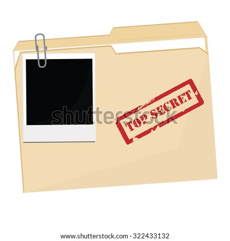 Vector illustration file folder with stamp top secret and Polaroid photo. Office documents - stock vector