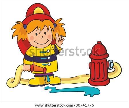 vector illustration- fireman - stock vector