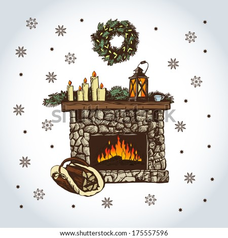Vector illustration  fireplace. Illustration for greeting cards, invitations, and other printing and web projects. - stock vector