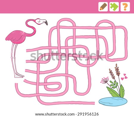 Vector Illustration. Flamingo. Education Maze or Labyrinth Game for Children. - stock vector