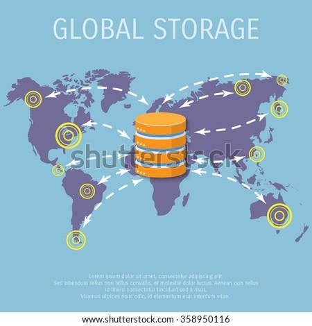 Vector illustration. Flat background. Database, server, information transfer. Global storage. - stock vector