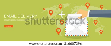 Vector illustration. Flat background. Envelope with hand. International communication. Business correspondence and private messages. Express delivery. Postal services. Chatting. - stock vector