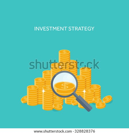 Vector illustration. Flat background. Investing. Money and money making. Web payments. World currency. Internet store, shopping. Pay per click. Business. - stock vector