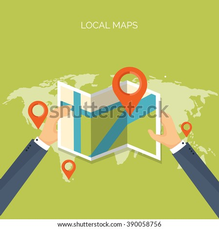 Vector illustration. Flat background. Navigation,traveling.  Map pointer,location finding. Web application.