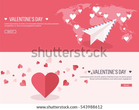 Vector illustration. Flat background with envelope, paper plane and heart in hands. Love, hearts. Valentines day. Be my valentine. 14 february. Message.